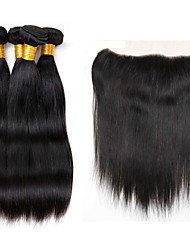 Vinsteen 8A Brazilian Straight 100% Human Hair Weave Hair 4pcs with Lace Frontal Closure Extensions Unprocessed Hair Wefts Natural Color Can Be Dyed