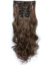 12pcs/Set 150g Medium Browm Wavy Hair Extension Clip In Synthetic Hair Extensions