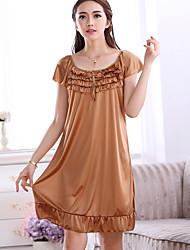 Women Chemises & Gowns Nightwear,Print Solid-Medium Ice Silk Women's