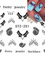 5pcs/set Fashion Sweet Nail Art DIY Lace Belt Water Transfer Decals Beautiful Black Necklace Jewelry Design Decoration Beauty Sticker STZ-251