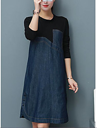 2017 spring and autumn long section stitching Women Korean yards fat mm thin long-sleeved denim dress