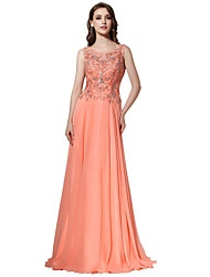 Formal Evening Dress Sheath / Column Jewel Sweep / Brush Train Chiffon with Beading
