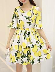 Signo de la versión coreana de la hoja de limón de verano nuevo 2016 impreso vestido de manga corta puesto en un gran dulce