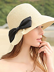 Women 's Summer Outdoor Shade Sunscreen Sun Bow Flat Top Hat Straw