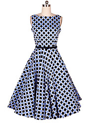 Women's Going out A Line Dress,Polka Dot Round Neck Knee-length Sleeveless Cotton Spring High Rise Micro-elastic Thin