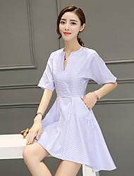 2017 printemps et été nouvelle section coréenne longue petite robe à rayures fraîches taille mince une parole jupe femme 998