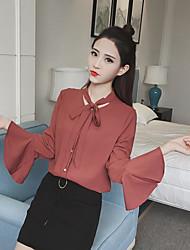 Real shot new Korean long-sleeved chiffon shirt shirt female white shirt shirt autumn influx of women