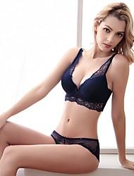 3/4 cup Bras & Panties Sets,Double Strap Adjustable Underwire Bra Fixed Straps Cotton Lace