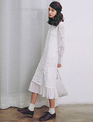 Model real shot small fresh lace skirt 2017 spring new long-sleeved white lace dress