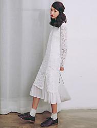 Modèle de vraie photo petite jupe en dentelle fraîche 2017 nouvelle robe à manches longues en dentelle blanche