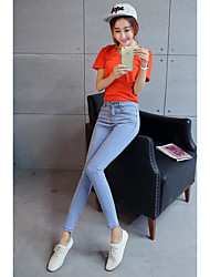 Sign skinny jeans women Waichuan bottoming colored pencil pants elastic feet trousers children