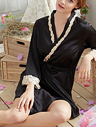 Women's Chemises & Gowns Nightwear,Sexy Solid-Thin Rayon Polyester