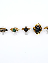 Midi Rings Euramerican Vintage Resin Alloy Geometric Jewelry For Party Daily 1set