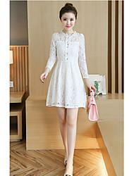 Tir réelle 2016 automne nouvelle femme coréenne slim ajourée en dentelle jupe manches longues jupe en bas