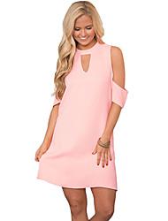 Women's Off The Shoulder Pink Artful Keyhole and Cold Shoulder Dress