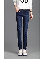 ordens coreia sul elásticas cintura de jeans grandes estaleiros pés femininos calças lápis retas cintura elástica gordura mm