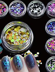 12bottles/set Mixed Size Hot Fashion Nail Glitter Round Thin Paillette Colorful Beautiful Sparkling Slice Nail Art DIY Tip Paillette Decoration P13-24