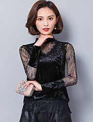 Sign lace fight velvet jacket spring 2017 women fake two bottoming T