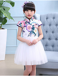 Girl's Casual/Daily Print Dress,Cotton Rayon Summer Short Sleeve