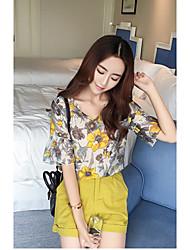 Tee-shirt Femme,Fleur Sortie simple ½ Manches Col en V Coton Lin