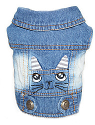 Dog Denim Jacket/Jeans Jacket Dog Clothes Cowboy Casual/Daily Solid Black Blue Blushing Pink
