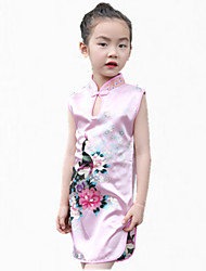 Girl's Pink / RedFloral Polyester Summer