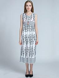 Women's Casual/Daily Beach Holiday Vintage Boho Loose Sheath Dress,Print V Neck Asymmetrical Sleeveless Cotton Polyester Summer High Rise