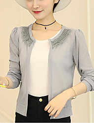 Women's Casual/Daily Beach Sexy Boho Spring Summer Jacket,Solid Cowl Long Sleeve Regular Polyester Mesh