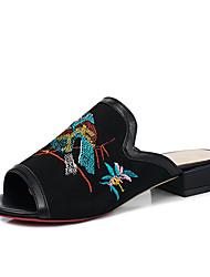 Women's Slippers & Flip-Flops Summer Fall Slingback Fleece Dress Casual Low Heel Flower Black