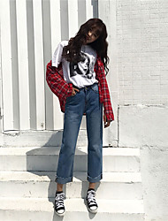 Women's Mid Rise Inelastic Jeans Pants,Simple Wide Leg Solid