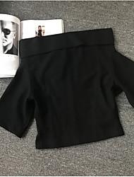 Damen Solide Einfach Lässig/Alltäglich T-shirt,Bateau Kurzarm Baumwolle