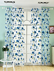 1 Curtain Neoclassical European , Flower Living Room Polyester Material Sheer Curtains Shades Home Decoration For Window