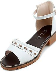 Women's Sandals Summer Slingback PU Casual Low Heel Buckle
