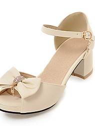 Women's Sandals Summer Fall D'Orsay & Two-Piece PU Office & Career Party & Evening Dress Chunky Heel BowknotBlushing Pink Purple Beige