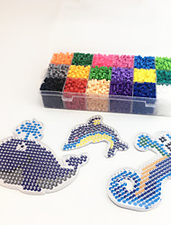 Approx 5400PCS 18 Color 5MM Fuse Beads Set with 3PCS Random Mixed Shape Template Clear Pegboard Sea Horse Dolphin Clownfish DIY Jigsaw(Set A 18*300PCS