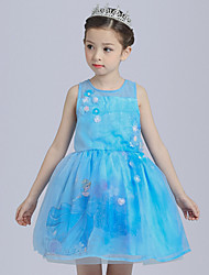 Ball Gown Short / Mini Flower Girl Dress - Satin Tulle Jewel with Flower(s) Pattern / Print Sequins