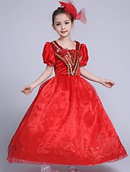 Ball Gown Tea-length Flower Girl Dress - Satin Tulle Square with Flower(s) Pattern / Print Sequins Ruffles