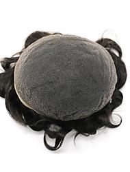 7x9 slighly ondulado francês toupees rendas natural hairline transpiração cheia laço mens pedaço de cabelo