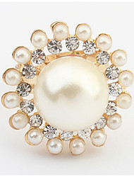 Korean Style Of High-end Luxury Rhinestone GreatPPearl Ring Women's Party Statement Gift Jewelry