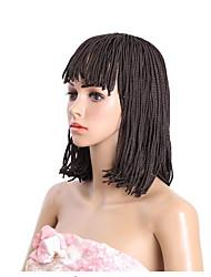 Mujer Pelucas sintéticas Sin Tapa Corto Castaño Medio Negro Peluca afroamericana Para mujeres de color Peluca con trenzas Trenzas