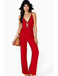 Women's Mid Rise Casual/Daily Jumpsuits,Sexy Loose Solid Summer