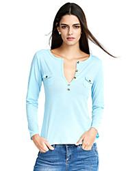 Damen Solide Einfach Lässig/Alltäglich T-shirt,V-Ausschnitt Herbst Langarm Blau / Rosa / Weiß / Schwarz Polyester Dünn