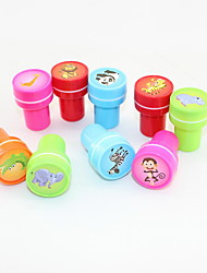 Cartoon Plastic DIY Lovely Inkpads Learning Incentive For Children Gift(10pcs/Box)