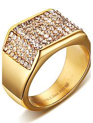 Муж. Массивные кольца Кольцо Кристалл Мода Панк По заказу покупателя Хип-хоп Rock Euramerican бижутерия Титановая сталь В форме квадрата