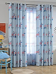 Two Panels European-Style Simple High-Grade Cotton And Linen Printed Living Room Bedroom Children's Room Curtains