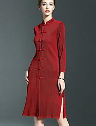 Feminino Túnicas Vestido,Casual Simples Sólido Decote Redondo Longo Manga ¾ Algodão Verão Cintura Baixa Micro-Elástica Média