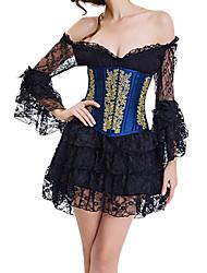 Feminino Vestido com Corpete Roupa de Noite,Sensual Retro Grosso Algodão Renda