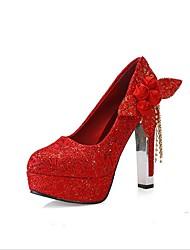 Feminino-Sapatos De Casamento-Conforto Sapatos clube-Salto Grosso--Tecido-Escritório & Trabalho Social Festas & Noite