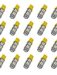 20pcs t10 9 * 5050 smd led voiture ampoule jaune lumière dc12v