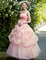 Ball Gown Princess Strapless Floor Length Organza Wedding Dress with Pearl Appliques Flower by TYSY